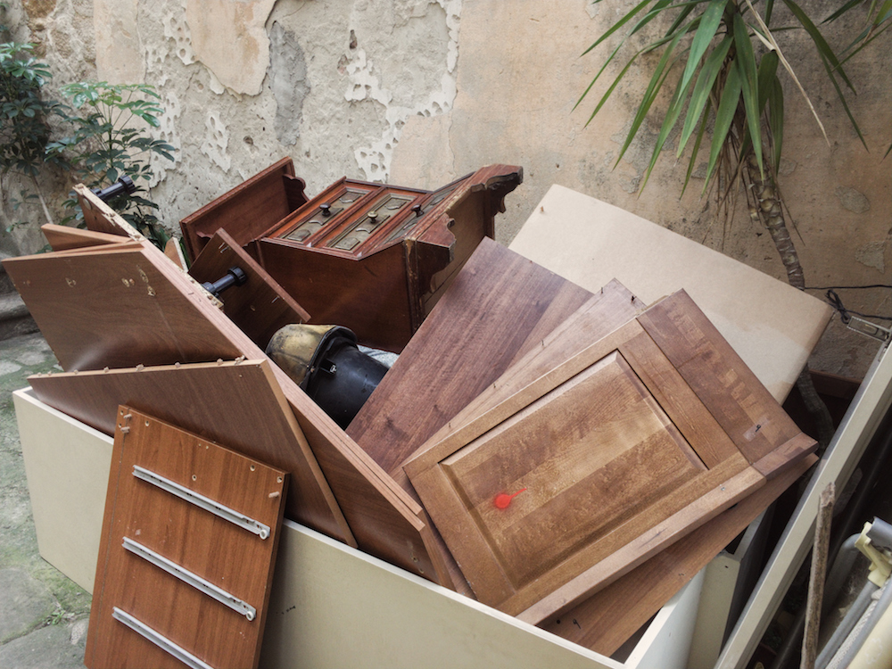 old furniture thrown away during a relocation