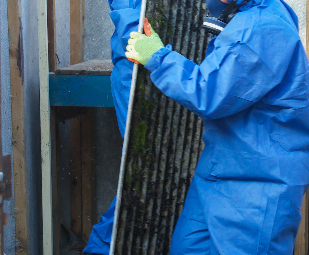 Asbestos corrugated roofing sheet being removed and sealed