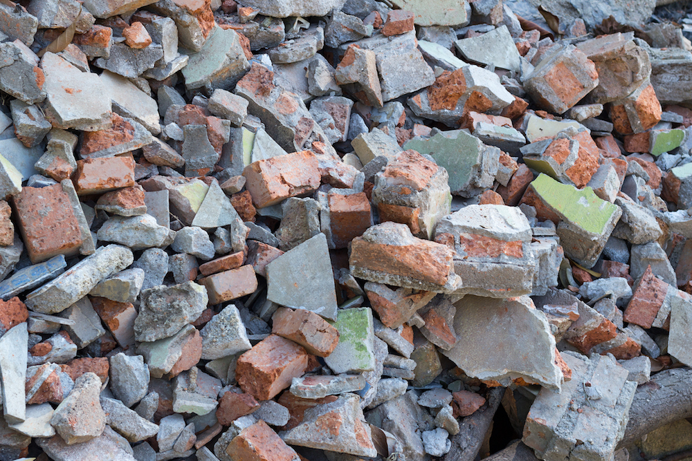 Scrap of the wall after smash,Stone construction background,texture