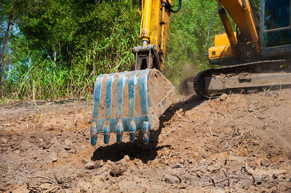An excavator working on a construction site